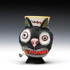 Schaller Gallery : Exhibition : Michael Corney : Cat Cup - Family Jewels