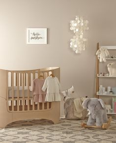 Nursery in soft neutrals with Leander crib. Samantha Docherty, Stylist.