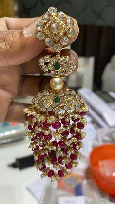 Stunning gold chaandbali studded with precious stones. - Stunning gold chaandbali studded with precious stones. Chaandbali with emerald hangings . Indian Jewelry Earrings, Jewelry Design Earrings, Indian Wedding Jewelry, Gold Earrings Designs, Gold Jewellery Design, Ear Jewelry, Bead Jewellery, Womens Jewelry Rings, Bridal Jewelry