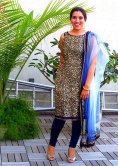 A beautiful take on bling: sequines clad kurta with net dupatta...