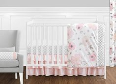 11 Pcs. Blush Pink, Grey and White Watercolor Floral Baby...