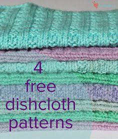 4 FREE dishcloth patterns - download at LoveKnitting!
