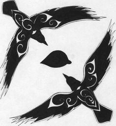 Huginn & Muninn - this is off of deviantart somewhere, my bad for no attribution. Can't find it now. Only want one raven tattoo though, if that. (still love this design though!)