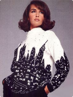 I'd prefer to make an afghan with this pattern! Vogue Knitting free pattern Perry Ellis New York Skyline Sweater Design by Marc Jacobs - Love Knitting, Vintage Knitting, Knitting Patterns Free, Knitting Yarn, Knit Patterns, Hand Knitting, Free Pattern, Knitting Machine, Vintage Crochet
