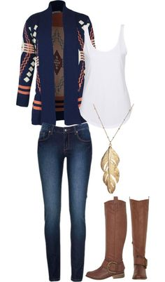 Fall outfit idea featuring a Aztec style cardigan.