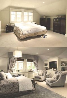 Attic Master Bedroom Inspiration 37 – Furniture Inspiration Source by kkrynski - Attic Master Bedroom, Master Bedroom Design, Home Bedroom, Bedroom Decor, Bedroom Furniture, Bedroom Designs, Bungalow Bedroom, Home Renovation, Home Remodeling