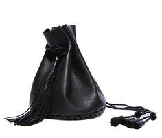Wendy Nichol's black leather bag