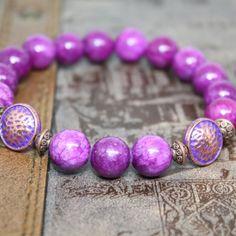 7th chakra  The Crown   Purple Jade  Yoga Bracelet by AgouraDesign