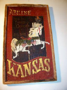 Barn Wood Sign Abilene Ks. Home of Parker Carousels by rustyitems, $35.00