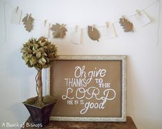 "Blissful and Domestic- Thrifty Living and Big Smiles: ""Give Thanks"" Simple Fall Decorating"