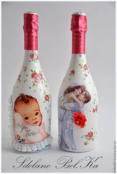 """Купить Свадебное оформление бутылок """"Вальс"""" - коралловый, свадебные аксессуары, все для свадьбы, свадьба 2013 Jar Crafts, Diy And Crafts, Beer Bottle Crafts, Decoupage Jars, Decorated Wine Glasses, Recycled Glass Bottles, Ribbon Crafts, Bottles And Jars, Christmas Crafts For Kids"""
