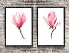 Magnolia painting Pink art print Set of 2 by ColorWatercolor  #magnolia #painting #forsale