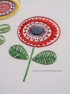 Scandi Flowers Scandinavian hand embroidery by KFNeedleworkDesign