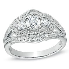 """1 CT. T.W. Diamond Vintage-Style Three Stone Engagement Ring in 14K White Gold, i like the vintagey quality of this style, but it can look a little """"class ringy"""""""