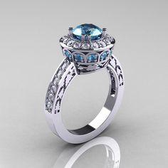 14K White Gold 1.0 Carat Aquamarine Diamond Wedding Ring Engagement Ring R199-14KWGDAQ-1