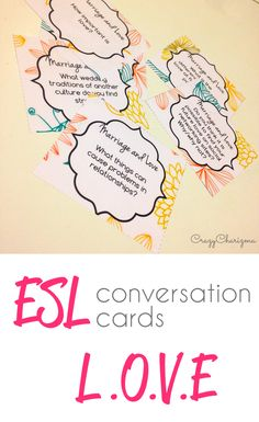 ESL Conversation Cards - Love and Marriage packet contains 20 pages. Find the cards with 60 questions and discuss various topics: love, marriage, dating, weddings and more. Let your students practice speaking English in this fun and engaging way! | CrazyCharizma at https://www.teacherspayteachers.com/Store/Crazycharizma