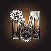 letra carta anciano a : metálica figura con ruedas dentadas hechas en el vector