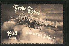old postcard: AK Frohe Fahrt ins neue Jahr 1938, Soldaten auf einem Flugzeug, Fotomontage