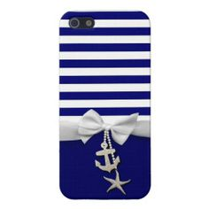 Nautical blue stripe white ribbon  charms graphic iPhone 5 cases
