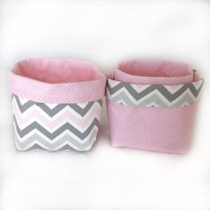 Fabric storage baskets3 pink grey chevrons by FigTreeHillCrafts