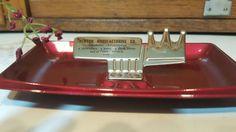 Vintage Ashtray, Historical, Business Advertising, Promotional, Newton Mfg., Iowa, Red Metal, Mixed Media, Steampunk, Tobacco, Cigarette