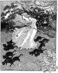 """She saw a little witch dance past, by Ida Rentoul Outhwaitein """"The Lady of the Blue Beads"""" (1908)."""