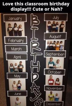 25 Awesome Birthday Board Ideas For Your Classroom – Bored Teachers Birthdays aren't quite the same at our age as they are for kids. Every birthday is special when you're growing up. Year 1 Classroom, Classroom Calendar, Preschool Classroom, Classroom Birthday Displays, Birthday Display Board, Classroom Birthday Board, Preschool Birthday Board, Classroom Door, Birthday Display In Classroom