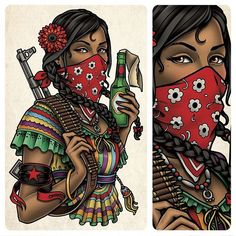 This is a back tattoo of a Zapatista woman (Mexican revolutionary) I designed…