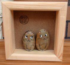 石趣部落 原创手绘石头 盒装可爱情侣猫 礼……_来自石趣部落1的图片分享-堆糖网