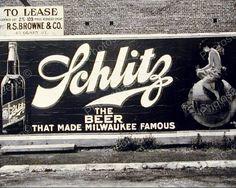 Schlitz Beer Billboard Sign Vintage