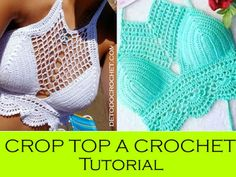 tops a crochet paso a paso ile ilgili görsel sonucu Tops Tejidos A Crochet, Top Crop Tejido En Crochet, Crochet Diy, Crochet Fabric, Crochet Shorts, Crochet Crafts, Crochet Clothes, Crochet Bikini, Fabric Patterns