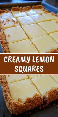 CREAMY LEMON SQUARES The lemon bars of your dreams take just 15 minutes of prep: Stir together a mere three ingredients to create a sunny, puckery filling for a buttery shortbread crust. FOR THE CRUST 4 tablespoons butter, melted and cooled, plus Lemon Desserts, Lemon Recipes, Köstliche Desserts, Baking Recipes, Sweet Recipes, Cookie Recipes, Yummy Recipes, Lemon Cakes, Meal Recipes