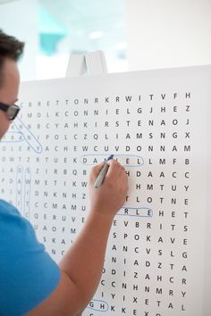 What a fun alternative guestbook idea! Its a crossword puzzle wanting you to spot your name!