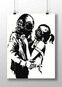 Banksy PRINT Think Tank Lovers - street art print home decor stencil art print