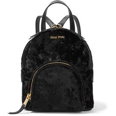 Miu Miu Leather-trimmed velvet backpack ($1,360) ❤ liked on Polyvore featuring bags, backpacks, black, miu miu, knapsack bag, velvet bag, mini velvet backpack and cell phone bag
