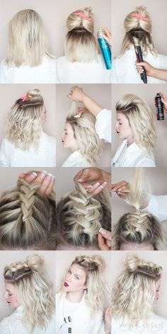 Braided half knot // half top knot // braid tutorial // blonde braid…