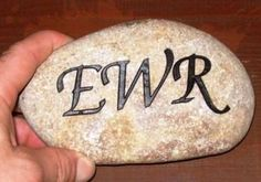 A stone that was sandblasted with a process known as sandcarving.