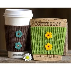 Keep your coffee toasty warm and your hands cool. Crochet cozies wrap your coffee cups perfectly! Great for that bright-and-early cup of joe.