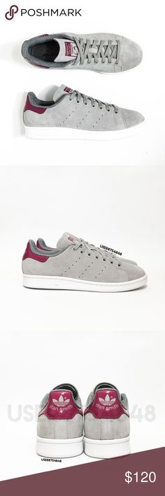 NWOT Adidas Womens Stan Smith Grey Tennis Sneakers NO TRADES  A classic tennis sneaker by Adidas reinvented with a gray suede upper contrasted with a contrasting deep-pink-magenta back. Topped with a perforated stripes detail.  Content & Care - Suede, mixed - Wipe clean - Imported  Size - Runs 1/2 size large & negligibly narrow  NOTES: - NEW; NO BOX - All pics photographed by me. Item's color will slightly vary from photos. - Priced upon rarity. If you leave a rude comment about the price…