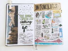 journal pages from this week — a quote by john muir, things to do whenever i'm in san francisco, songs that are on my summer playlist, a list of some of my favorite albums, a list of nice words, and a...