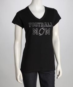 Take a look at this Black 'Football Mom' Tee - Women by Rhinestone Fabuless on #zulily today!