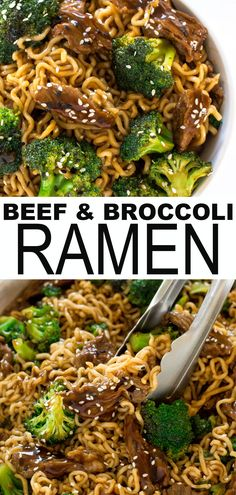 One Skillet Beef and Broccoli Ramen. Everything you love about beef and broccoli but with ramen noodles! Quick and easy to make – ready in less than 30 minutes. A great weeknight dinner if you're looking for healthy comfort food this fall and winter. Fall Dinner Recipes, Dinner Recipes Easy Quick, Easy Weeknight Meals, Easy Healthy Dinners, Quick Easy Meals, Healthy Dinner Recipes, Quick Easy Dinners For Two, Quick Easy Healthy Meals, Fall Meals