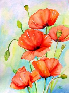 """Poppy VariationsII"" © Meltem Kilic, painting by artist Meltem Kilic"