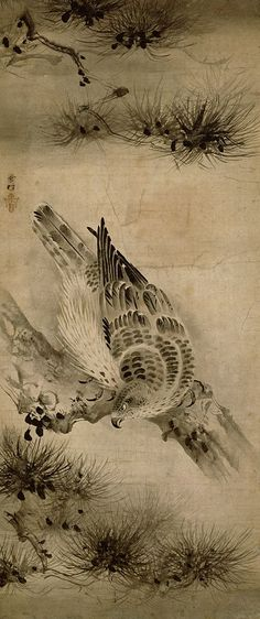 Hawks and pines. By Sesson. Muromachi Period 16th century. Important Cultural Property.