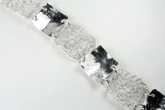 Hallmarked 925 Sterling Silver Reversible Crocheted and Solid Silver Square Links Bracelet by WovenArtJewellery on Etsy