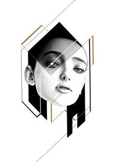 pencil、mechanical pencil 、black \ white pen 、golden ink on paper - Injr Hsu Composition Art, Glitch Art, Illustrations And Posters, Fashion Illustrations, Geometric Art, Custom Art, Portrait Art, Face Art, Graphic Design Inspiration