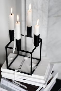 candle holder black white grey books  marble