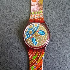 1990 Vintage Swatch Watch, Mosaiques collection. Ravenna. Abstract and Special model of a Swatch Watch