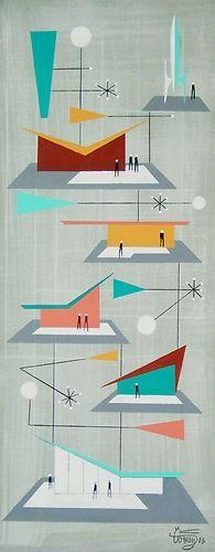 El Gato Gomez Painting Mid Century Modern Retro Googie Architecture Rocket Space | eBay