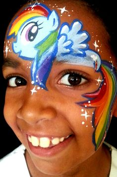 Rainbow dash MLP face painting!